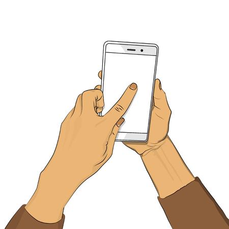 La mano sostiene el teléfono inteligente con pantalla en blanco y un dedo toca la pantalla. Dibujos animados de arte pop retro ilustración vectorial dibujo en estilo cómic para publicidad, sitios web, banners, diseño de infografías.