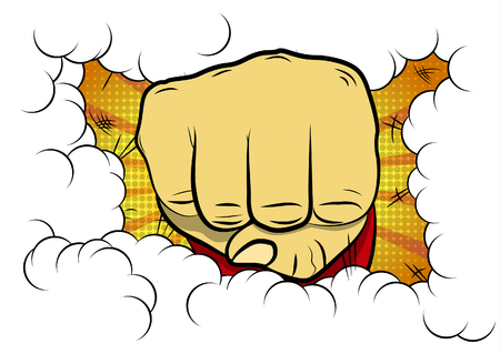 Vector illustrated comic book style cartoon clenched fist. 일러스트
