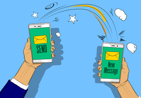 Hands holding phones with letter, send and new message button on the screen. Vector illustrated retro comic book cartoon for advertisement, web sites, banners, infographics design. Illustration