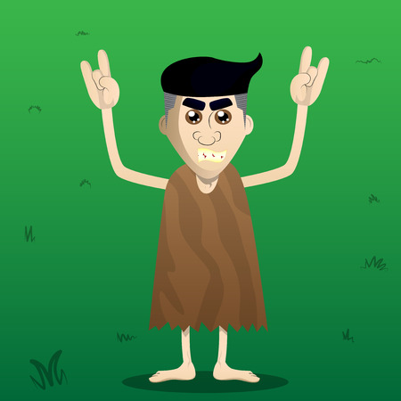 Cartoon caveman with hands in rocker pose. Vector illustration of a man from the stone age. Ilustracja