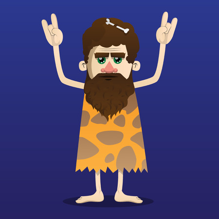 Cartoon caveman with hands in rocker pose. Vector illustration of a man from the stone age.  イラスト・ベクター素材