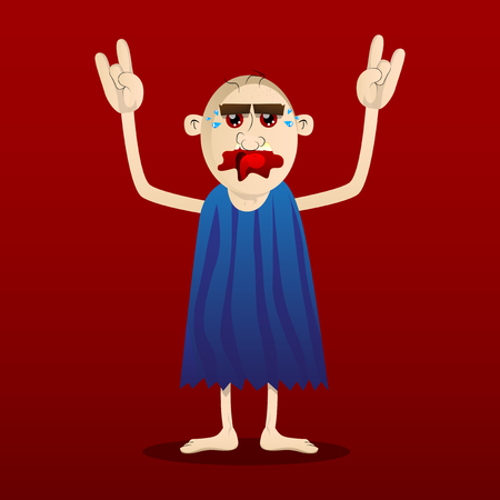 Cartoon caveman with hands in rocker pose. Vector illustration of a man from the stone age. 向量圖像