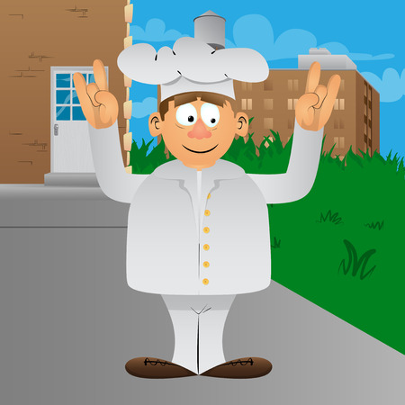 Fat male cartoon chef in uniform with hands in rocker pose. Vector illustration. Foto de archivo - 110670409