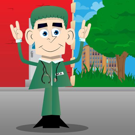 Funny cartoon doctor with hands in rocker pose. Vector illustration. Foto de archivo - 110670445