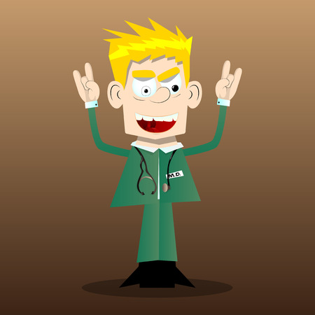 Funny cartoon doctor with hands in rocker pose. Vector illustration.