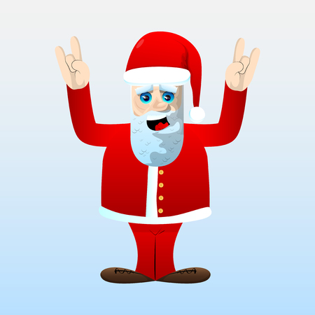 Santa Claus in his red clothes with white beard with hands in rocker pose. Vector cartoon character illustration.