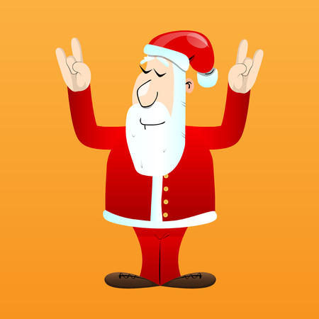 Santa Claus in his red clothes with white beard with hands in rocker pose. Vector cartoon character illustration. Foto de archivo - 110670482