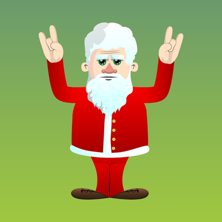 Santa Claus in his red clothes with white beard with hands in rocker pose. Vector cartoon character illustration. Foto de archivo - 110670483