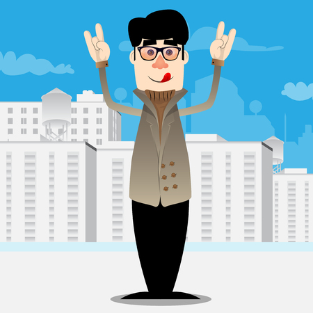 Funny cartoon man dressed for winter with hands in rocker pose. Vector illustration. Foto de archivo - 110670484