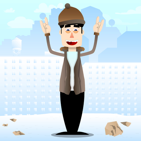 Funny cartoon man dressed for winter with hands in rocker pose. Vector illustration.