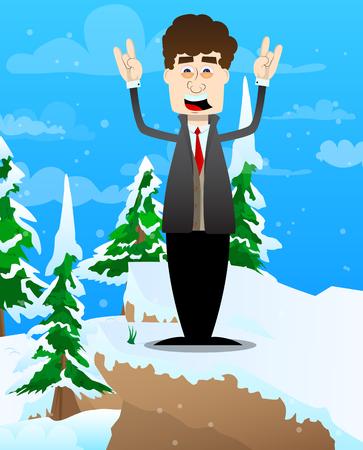 Funny cartoon man dressed for winter with hands in rocker pose. Vector illustration. Foto de archivo - 110670487