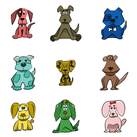 Vector illustrated dogs. Cartoon collection of nine different puppy.