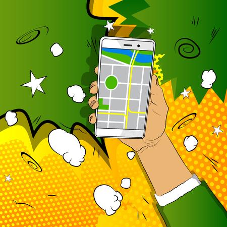 Mano que sostiene el teléfono móvil blanco con mapa. Concepto de seguimiento y navegación gps móvil. Dibujos animados de vector, ilustración de cómic para sitios web, banners.