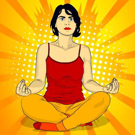 Concepto de yoga. Ilustración de vector de estilo cómic de una mujer haciendo yoga, meditando.