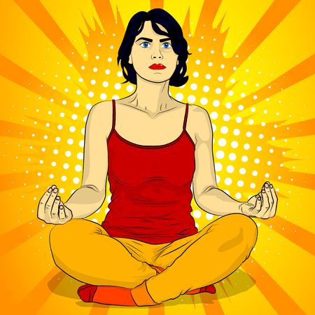 Yoga concept. Comic book style vector illustration of a woman doing yoga, meditating. 일러스트