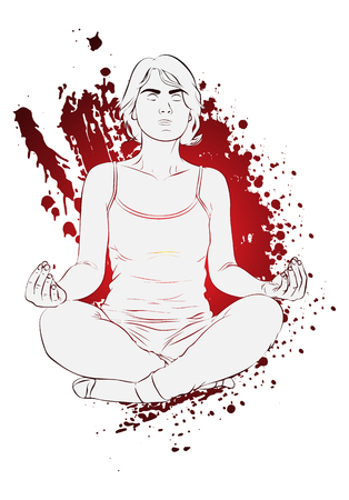 Yoga concept. Vector illustration of a woman doing yoga, meditating. Drawing with splash on the background.