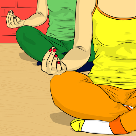 Yoga concept. Comic book style vector illustration of a woman doing yoga, meditating. Ilustração
