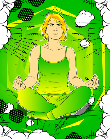 Yoga concept. Comic book style vector illustration of a woman doing yoga, meditating. Archivio Fotografico - 110775982