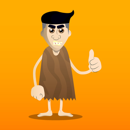 Cartoon caveman making thumbs up sign. Vector illustration of a man from the stone age.