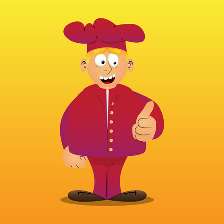 Fat male cartoon chef in uniform making thumbs up sign. Vector illustration. Illustration