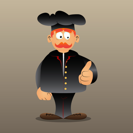 Fat male cartoon chef in uniform making thumbs up sign. Vector illustration. Ilustrace