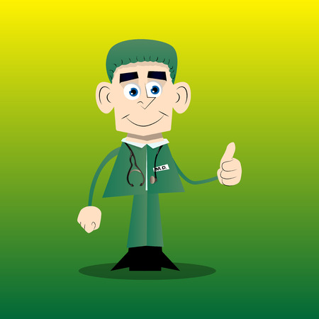 Funny cartoon doctor making thumbs up sign. Vector illustration.