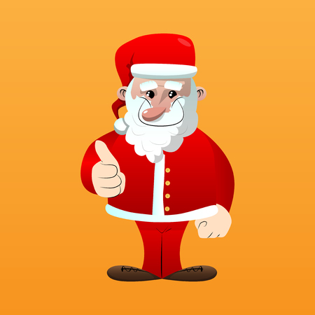 Santa Claus in his red clothes with white beard making thumbs up sign. Vector cartoon character illustration.