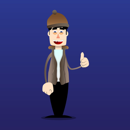 Funny cartoon man dressed for winter making thumbs up sign. Vector illustration. Stock Illustratie