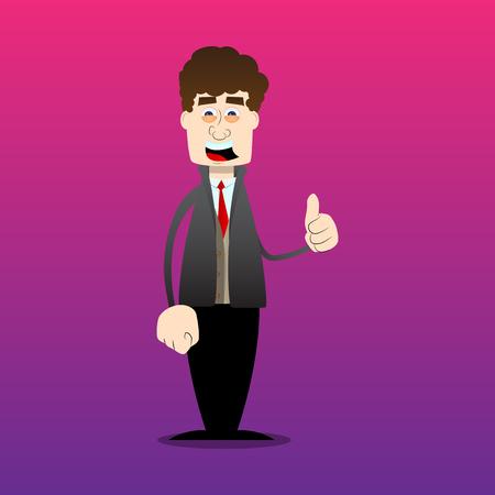 Hombre de divertidos dibujos animados vestido para el invierno haciendo Thumbs up sign. Ilustración de vector.