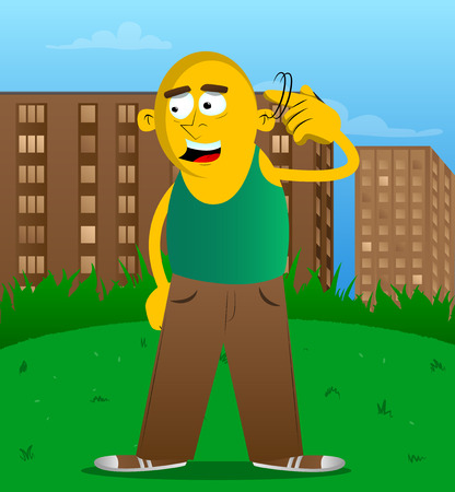 Yellow man shows a youre nuts gesture by twisting his finger around his temple. Vector cartoon illustration.