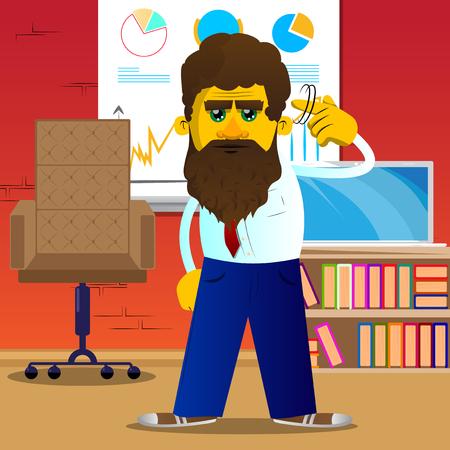 L'homme jaune montre un geste de fou en tournant son doigt autour de sa tempe. Illustration de dessin animé de vecteur.