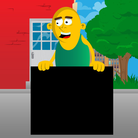 Yellow man holding blank black sign. Vector cartoon illustration.