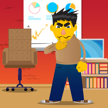 Yellow man thinking or pointing to his left side. Vector cartoon illustration. Çizim