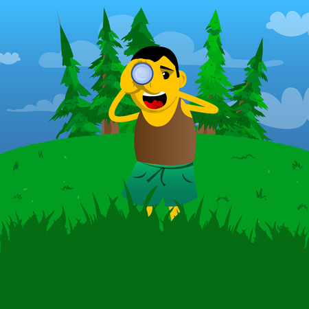 Yellow man holding binoculars in his hands. Vector cartoon illustration.