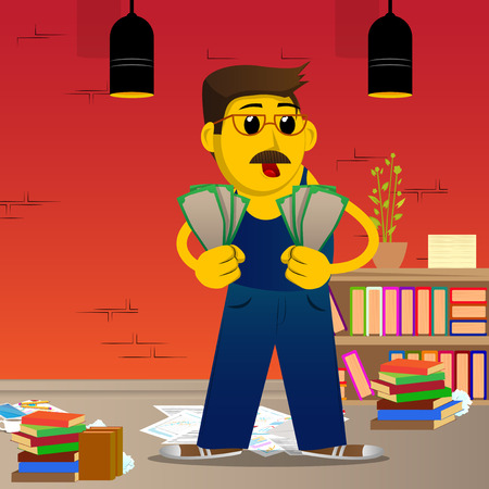 Yellow man holding or showing money bills. Vector cartoon illustration.