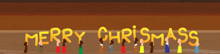 Diverse hands holding letters of the alphabet created the word Merry Christmas. Vector illustration.