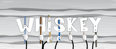 Diverse hands holding letters of the alphabet created the word Whiskey. Vector illustration.