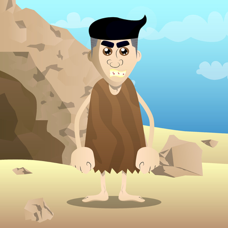 Cartoon caveman standing. Vector illustration of a man from the stone age. Ilustração