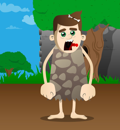 Cartoon caveman standing. Vector illustration of a man from the stone age. 向量圖像