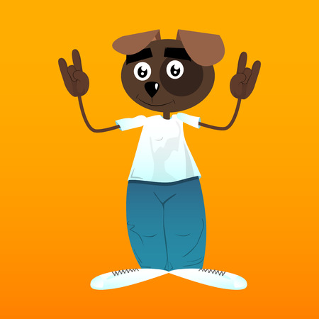 Funny cartoon dog with hands in rocker pose. Vector illustration.