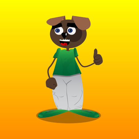 Funny cartoon dog making thumbs up sign. Vector illustration.