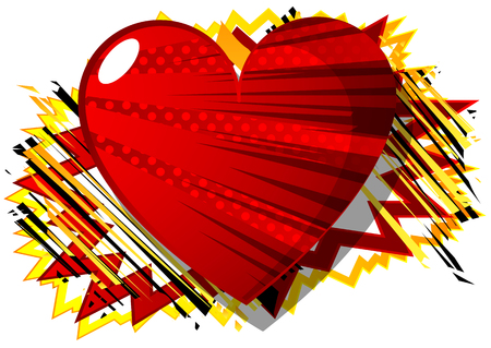Vector illustrated comic book style heart, abstract love symbol. Icon, sign or emblem for graphic and web design. Illusztráció