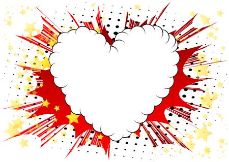 Cuore in stile fumetto illustrato vettoriale, simbolo di amore astratto. Icona, segno o emblema per grafica e web design. Vettoriali