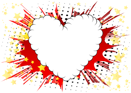 Vector geïllustreerd stripboek stijl hart, abstracte liefde symbool. Pictogram, teken of embleem voor grafisch en webdesign. Vector Illustratie