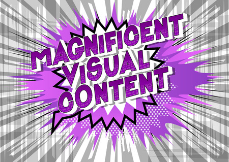 Magnificent Visual Content - Vector illustrated comic book style phrase. Stock Illustratie