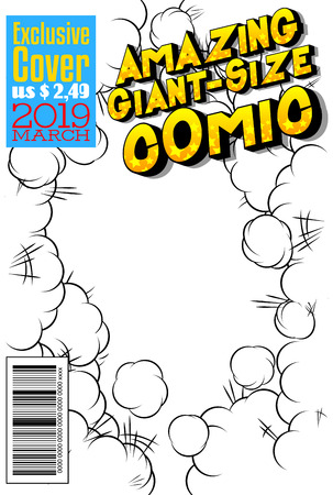 Editable comic book cover with abstract background. Stockfoto - 111944000