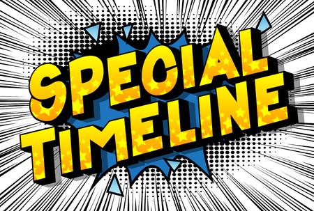 Chronologie spéciale - Expression de style bande dessinée illustrée de vecteur sur fond abstrait.