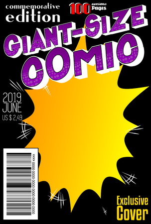Editable comic book cover with abstract background. Vector illustration style cartoon. Banco de Imagens - 112404257