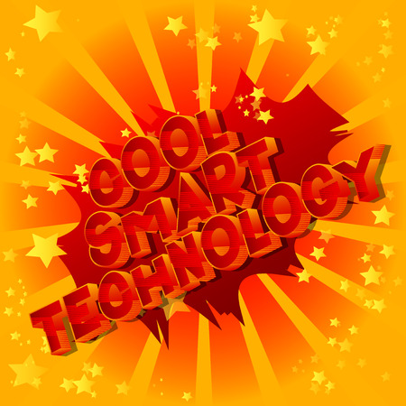 Cool Smart Technology - Vector illustrated comic book style phrase on abstract background. Illustration