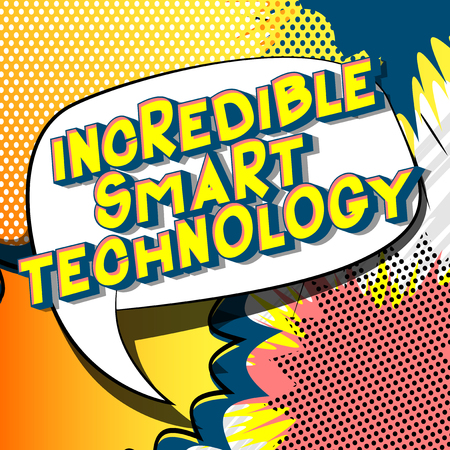 Incredible Smart Technology - Vector illustrated comic book style phrase on abstract background. Ilustração